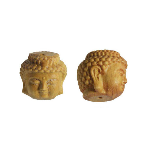 Aromatic Cedar Wood Beads, Buddha Head 19mm, 1 Piece, Natural