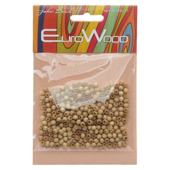 EuroWood Natural Wood Beads, Round 4mm Diameter, 250 Pieces, Natural