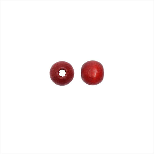 EuroWood Natural Wood Beads, Round 6mm Diameter, 200 Pieces, Red