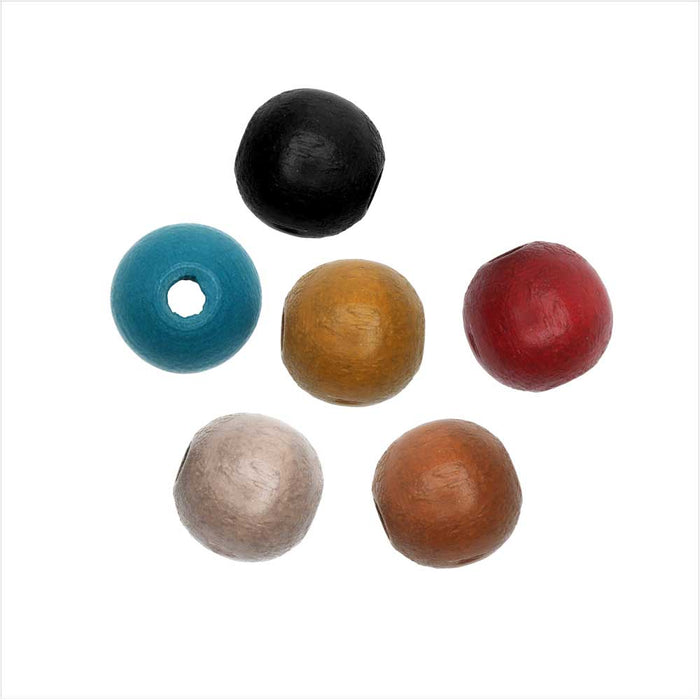 EuroWood Natural Wood Beads, Round 8mm Diameter, 100 Pieces, Multi-Colored