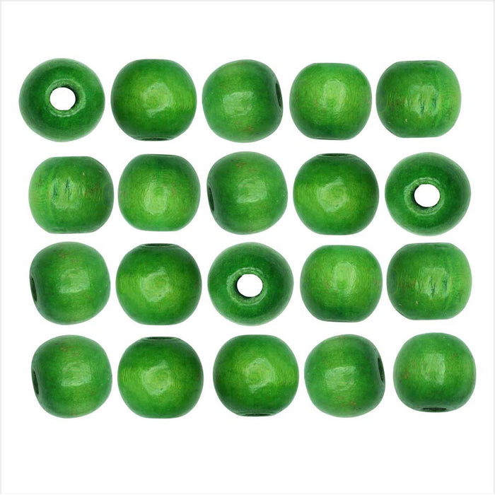 Dyed Wood Beads, Smooth Large Hole Round 14mm, 20 Pieces, Green
