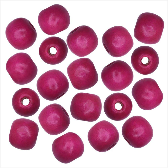 Dyed Wood Beads, Smooth Large Hole Round 14mm, 20 Pieces, Fuchsia Pink