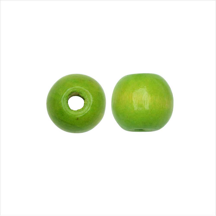 Dyed Wood Beads, Smooth Large Hole Round 12mm, 25 Pieces, Lime Green