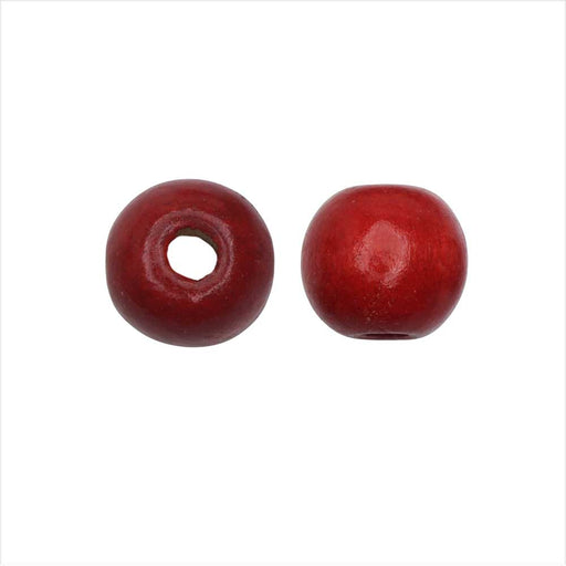 Dyed Wood Beads, Smooth Large Hole Round 12mm, 25 Pieces, Red