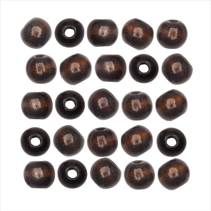Dyed Wood Beads, Smooth Large Hole Round 12mm, 25 Pieces, Coffee