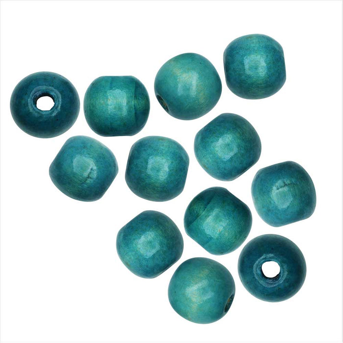 Dyed Wood Beads, Smooth Large Hole Round 16mm, 12 Pieces, Dark Cyan