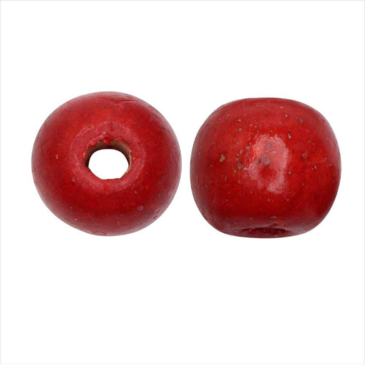 Dyed Wood Beads, Smooth Large Hole Round 16mm, 12 Pieces, Red