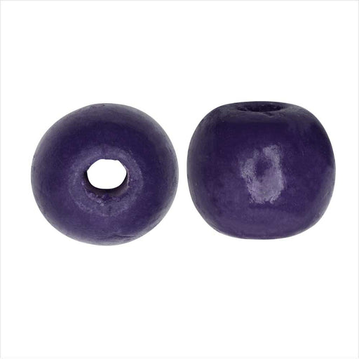 Dyed Wood Beads, Smooth Large Hole Round 16mm, 12 Pieces, Indigo