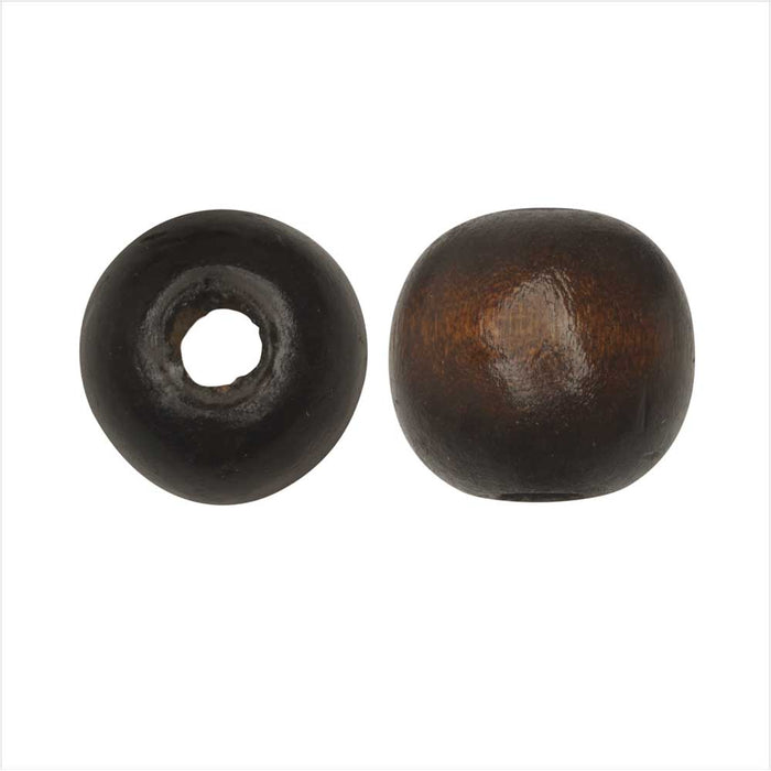 Dyed Wood Beads, Smooth Large Hole Round 16mm, 12 Pieces, Coconut Brown