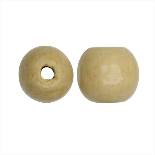 Dyed Wood Beads, Smooth Large Hole Round 16mm, 12 Pieces, Wheat