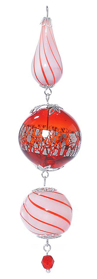 Retired - Silver and Red Candy Striped Heirloom Ornament
