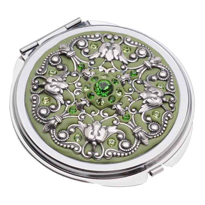 Retired - Crystal Clay Filigree and Swarovski Chaton Compact - Sage