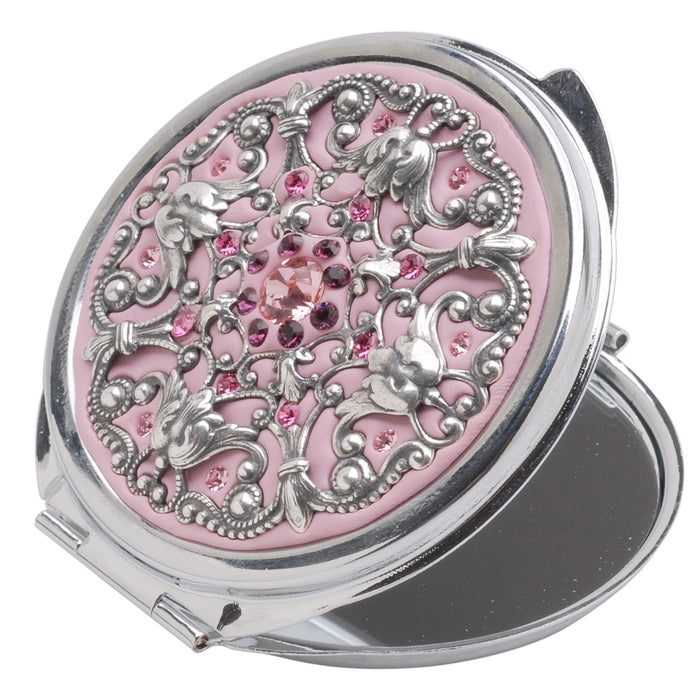 Retired - Crystal Clay Filigree and Swarovski Chaton Compact - Pink