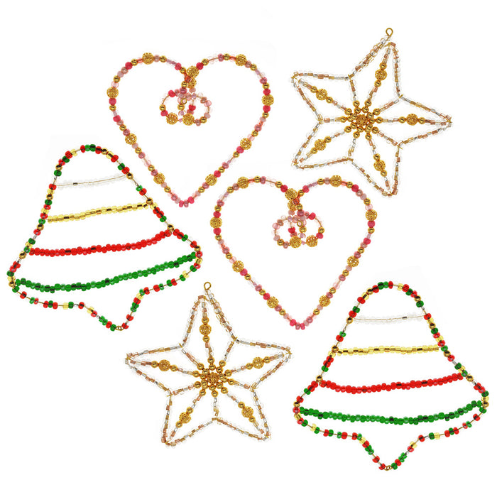 Retired - Set of 6 Beaded Christmas Ornaments