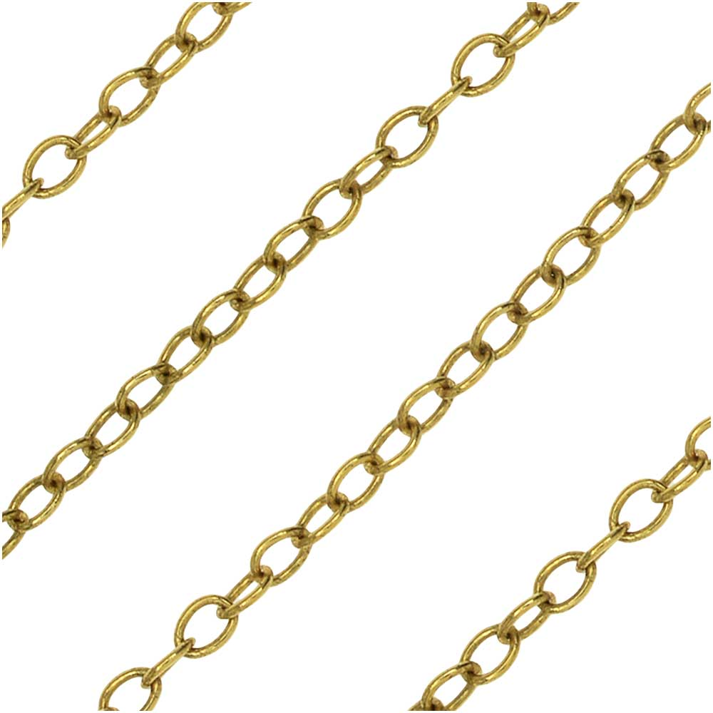 Antiqued Gold Plated Cable Chain, 2x2.5mm, by Nunn Design Chain, by the Foot