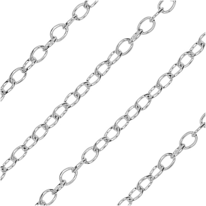 Silver Plated Cable Chain, 2x2.5mm, by Nunn Design Chain
