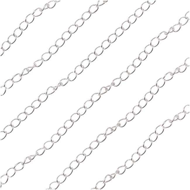 Silver Filled Curb Chain, 2.6mm, by the Foot