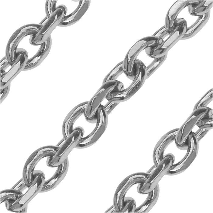 Stainless Steel Cable Chain, 6x5mm, by the Foot