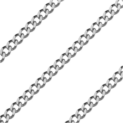 Stainless Steel Flattened Curb Chain, 3x2mm, by the Foot