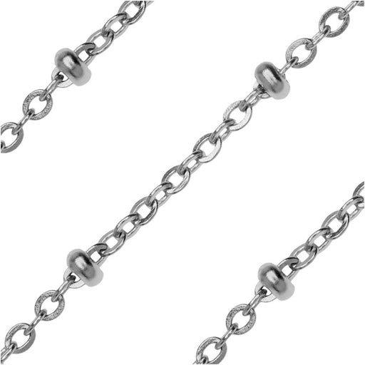 Stainless Steel Saturn Cable Chain, 2.5x2mm, by the Foot