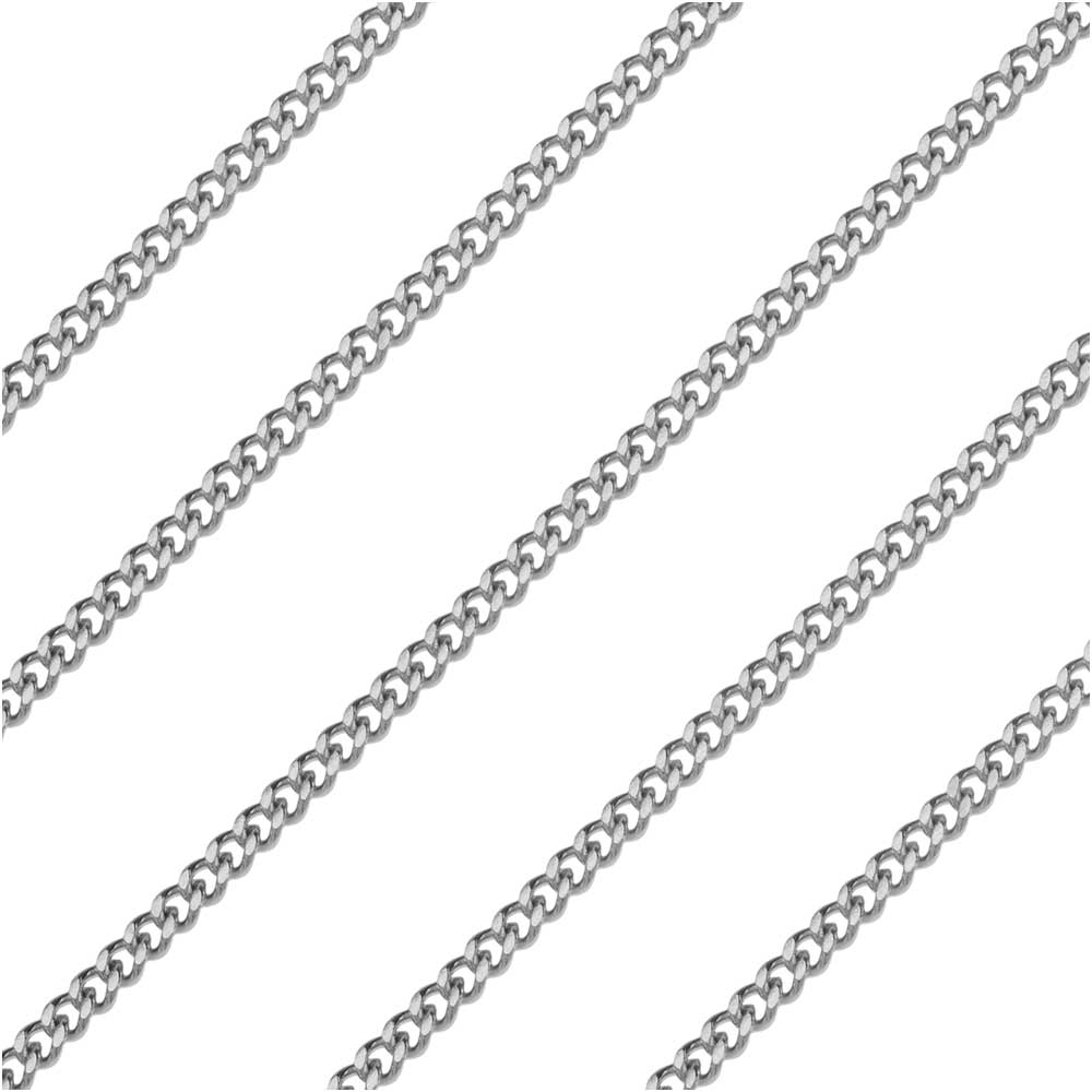Stainless Steel Flat Curb Chain, 2.7x2mm, by the Foot
