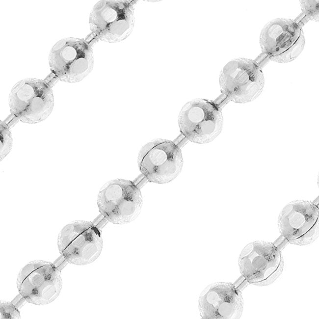 Silver Plated Faceted Ball Chain, 2mm, by Nunn Design, by the Foot