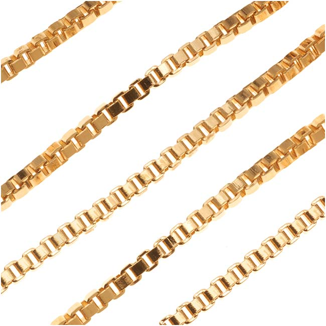 22K Gold Plated Venetian Box Chain, 2.5mm, by the Foot
