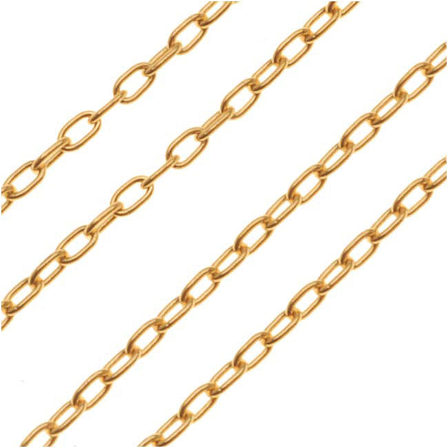 22K Gold Plated Delicate Cable Chain, 1.5mm, by the Foot