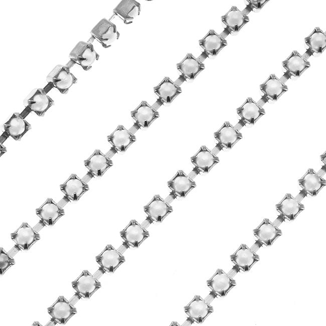 Czech Cup Chain, White Glass Pearl, Silver Plated, PP24, by the Foot