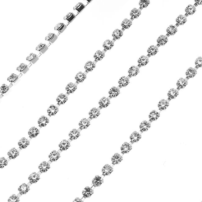 Czech Crystal Rhinestone Cup Chain, 14PP, Crystal/Silver Plated, by the Foot