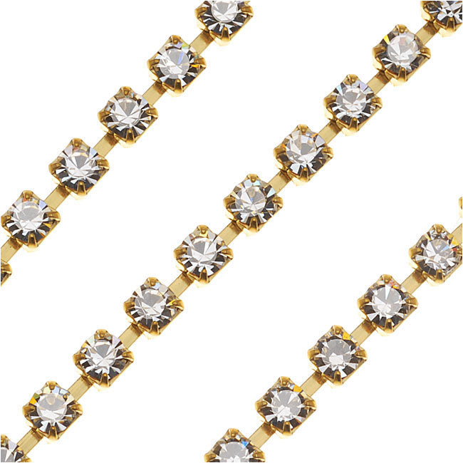 Czech Crystal Rhinestone Cup Chain, 18PP, Crystal/Brass, by the Foot