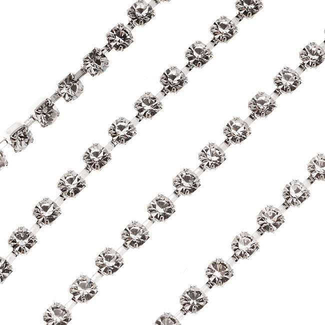 Czech Crystal Rhinestone Cup Chain, 24PP, Crystal/Silver Plated, by the Foot