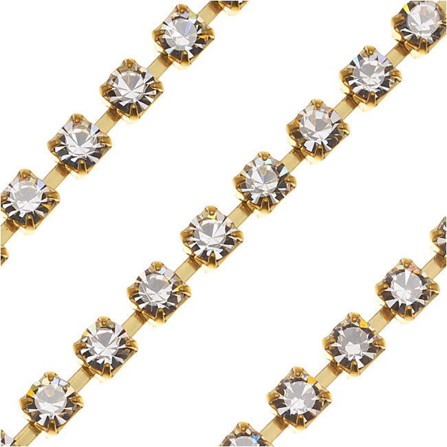 Czech Crystal Rhinestone Cup Chain, 24PP, Crystal/Brass, by the Foot