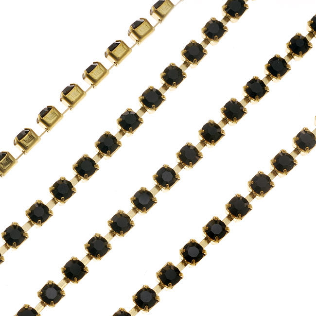 Czech Crystal Rhinestone Cup Chain, 18PP, Jet Black/Brass, by the Foot