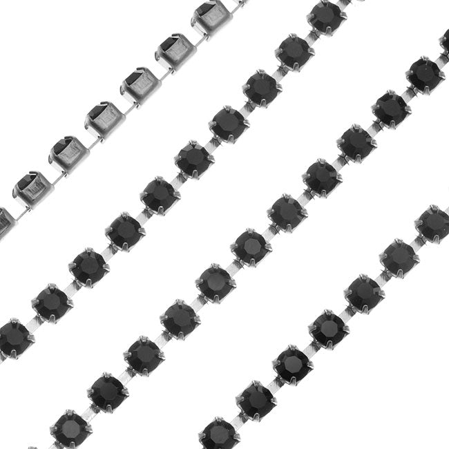 Czech Crystal Rhinestone Cup Chain, 24PP, Jet Black/Silver Plated, by the Foot
