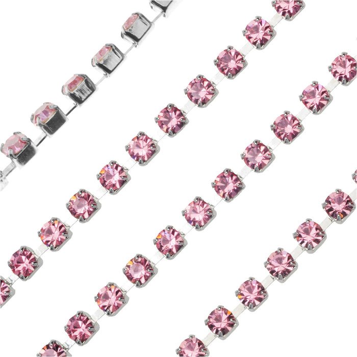 Czech Crystal Rhinestone Cup Chain, 24PP, Light Rose/Silver Plated, by the Foot