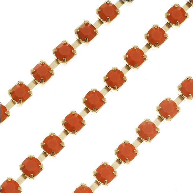 Czech Crystal Rhinestone Cup Chain, 18PP, Coral Orange/Brass, by the Foot