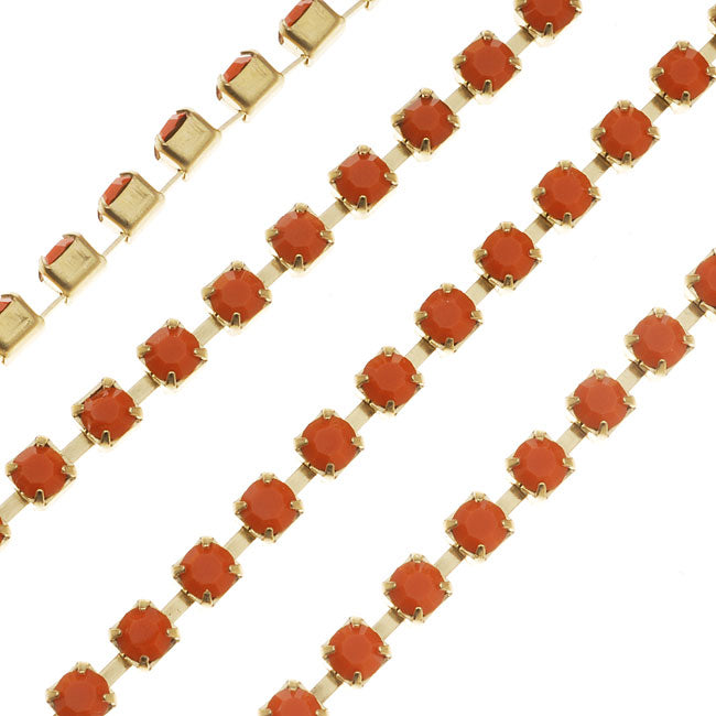 Czech Crystal Rhinestone Cup Chain, 24PP, Coral Orange/Brass, by the Foot