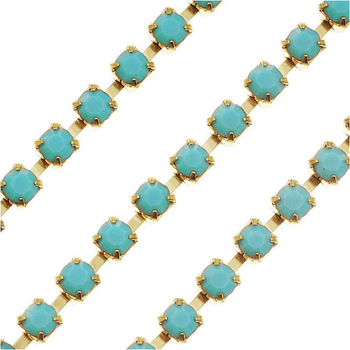 Czech Crystal Rhinestone Cup Chain, 18PP, Turquoise/Brass, by the Foot