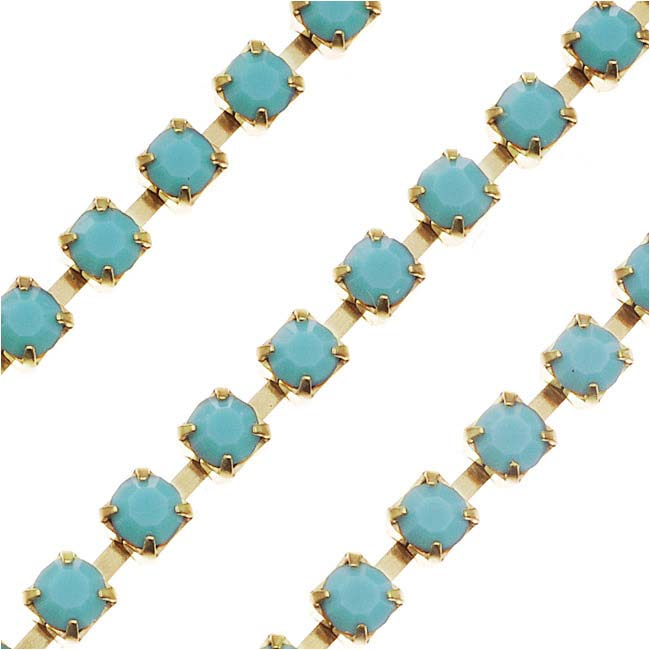 Czech Crystal Rhinestone Cup Chain, 24PP, Turquoise/Brass, by the Foot