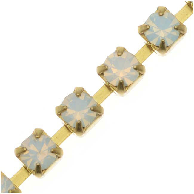 Czech Crystal Rhinestone Cup Chain, 24PP, White Opal/Brass, by the Foot