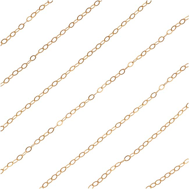 Gold Filled Delicate Flat Cable Chain, 1.5mm, by the Foot