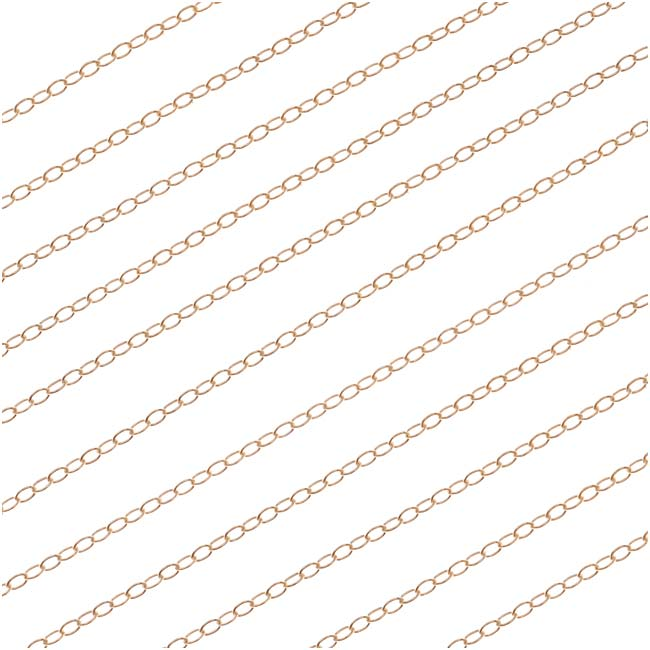 14/20 Gold Filled Delicate Flat Cable Chain, 1.3mm, by the Foot