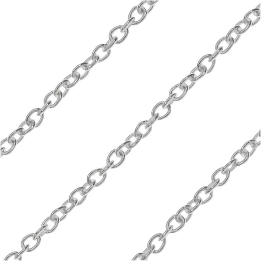 Sterling Silver Cable Chain, 1.5x1mm, 31 Gauge, by the Foot