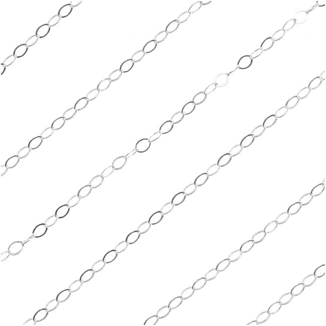Sterling Silver Flat Cable Chain, 2 x 3mm Long, by the Foot
