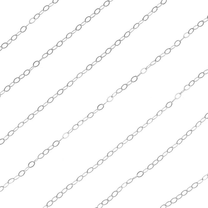 Sterling Silver Delicate Flat Cable Chain, 1.6mm, by the Foot