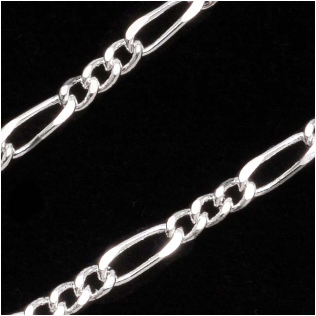 Silver Plated Figaro Chain, 6.4mm x 2.8mm, by the Foot