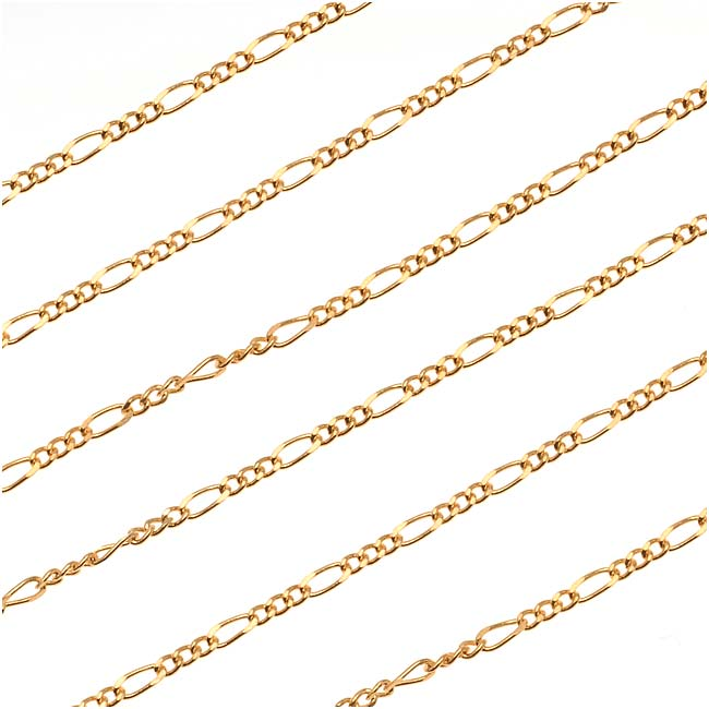 22K Gold Plated Figaro Chain, 4mm x 1.5mm, by the Foot