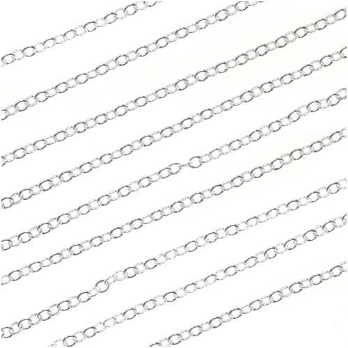 Sterling Silver Flat Cable Chain, 2mm, by the Foot