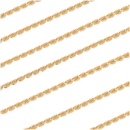 22K Gold Plated Fine Beading Chain, 0.7mm, by the Foot